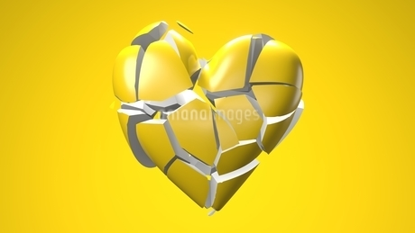 Yellow broken heart objects in yellow background. Heart shape object shattered into pieces.のイラスト素材 [FYI04286732]