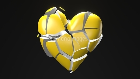 Yellow broken heart objects in black background. Heart shape object shattered into pieces.のイラスト素材 [FYI04286733]