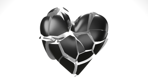 Black broken heart objects in white background. Heart shape object shattered into pieces.のイラスト素材 [FYI04286735]