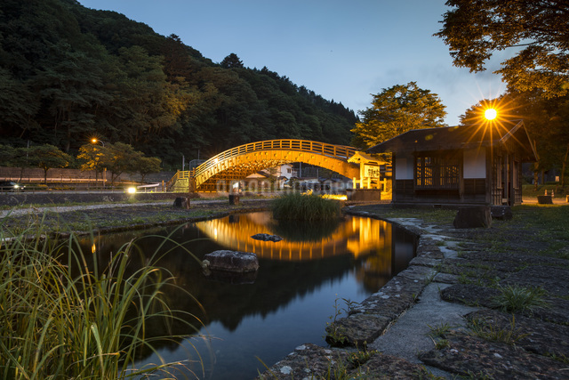 奈良井宿 木曽の大橋 日本 長野県 塩尻市の写真素材 [FYI04286849]