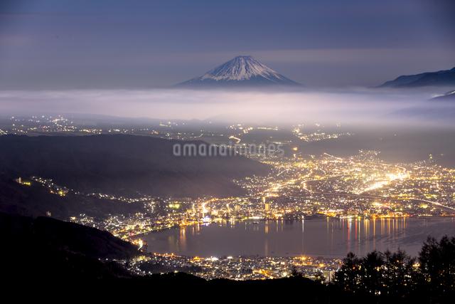 高ボッチ山からの眺め 日本 長野県 岡谷市の写真素材 [FYI04286897]