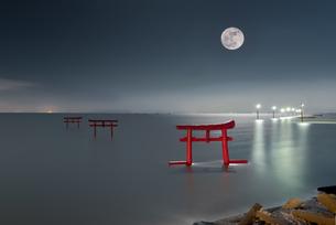 大魚神社 海中鳥居 日本 佐賀県 太良町の写真素材 [FYI04287880]