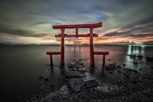 大魚神社 海中鳥居 日本 佐賀県 太良町の写真素材 [FYI04287970]