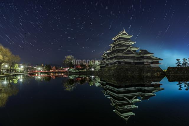 松本城 お堀わきの梅の樹の下 日本 長野県 松本市の写真素材 [FYI04287985]