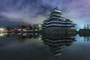 松本城 お堀わきの梅の樹の下 日本 長野県 松本市の写真素材 [FYI04287986]