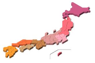 日本地図3D 地方別(アイソメトリック)のイラスト素材 [FYI04288196]