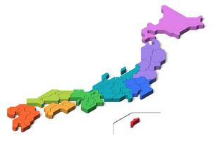 日本地図3d 地方別のイラスト素材 [FYI04288197]