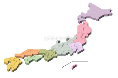 日本地図3d 地方別のイラスト素材 [FYI04288198]
