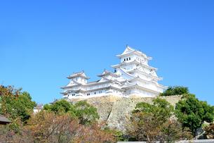 秋空の姫路城の写真素材 [FYI04288359]