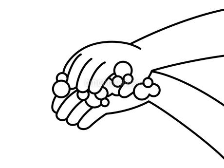 手洗い-手の甲-白黒のイラスト素材 [FYI04288385]