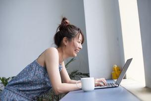 パソコンを操作している女性の写真素材 [FYI04288692]