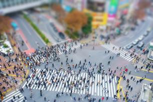 渋谷駅前スクランブル交差点を行き交う通行人 ミニチュア風景の写真素材 [FYI04288739]