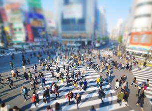 渋谷駅前スクランブル交差点を行き交う通行人 ミニチュア風景の写真素材 [FYI04288743]