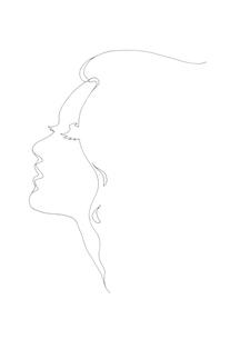 女性横顔線画のイラスト素材 [FYI04289127]