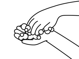 手洗い-爪の間や指先-白黒のイラスト素材 [FYI04289621]