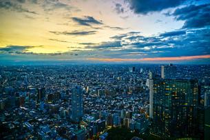 東京都庁の展望台から見える新宿の都市風景と夕景の写真素材 [FYI04289978]