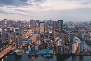 夕暮れの東京・豊洲の都市景観の写真素材 [FYI04290491]