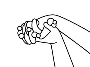 手洗い-指の間-白黒のイラスト素材 [FYI04290825]