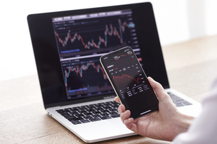パソコンとスマートフォンでお金の管理をする女性の写真素材 [FYI04290833]