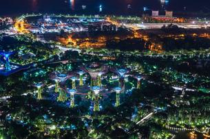 マリーナ・ベイ・サンズ展望台からの夜景(シンガポール)の写真素材 [FYI04291113]