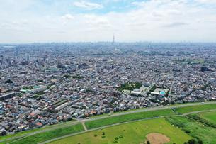 江戸川上空から見た東京の写真素材 [FYI04291526]