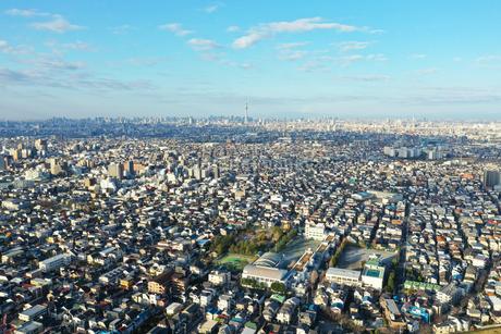 江戸川上空から見た東京の写真素材 [FYI04291528]
