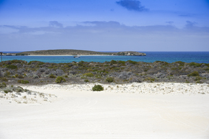 オーストラリア・西オーストラリア州にある「西オーストラリアの雪」と言われているランセリン大砂丘と海と島と船舶のある景観の写真素材 [FYI04291557]