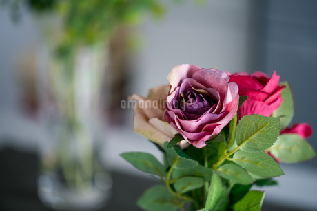 Artificial antique roses on kitchen table. Quiet and cozy kitchen concept.の写真素材 [FYI04292060]