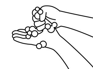 手洗い-親指-白黒のイラスト素材 [FYI04292565]