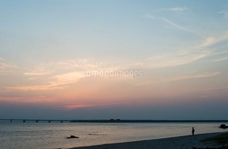 オレンジ色の夕暮れと飛行場の誘導灯の写真素材 [FYI04293230]