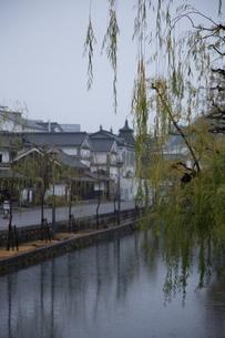 小雨降る早朝の倉敷美観地区の写真素材 [FYI04293277]