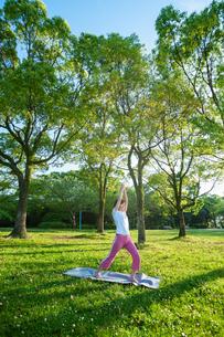 公園でヨガをする女性の写真素材 [FYI04293588]
