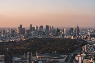 夕暮れの東京都心のビル群の写真素材 [FYI04293610]