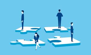 ビジネスチームとパズル、チームワーク崩壊のイメージのイラスト素材 [FYI04293627]