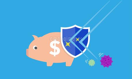 ウイルスから貯金箱を守るイメージのイラスト素材 [FYI04293628]
