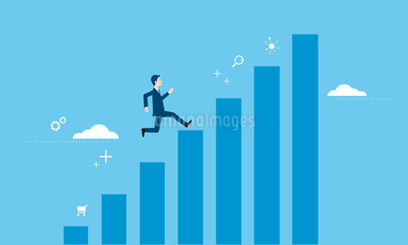 走るビジネスマンとグラフのイラストイメージのイラスト素材 [FYI04293644]
