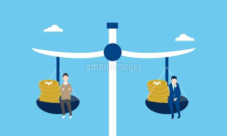 同一労働同一賃金の天秤イメージのイラスト素材 [FYI04293651]