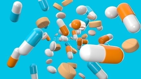 Various medicine and pills on blue background.のイラスト素材 [FYI04293723]