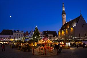 タリン旧市街  クリスマスマーケット夜景  エストニアの写真素材 [FYI04293778]