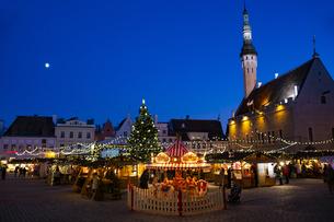タリン旧市街  クリスマスマーケット夜景  エストニアの写真素材 [FYI04293779]