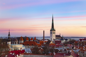 タリン旧市街(タリン歴史地区)  夕景展望  エストニアの写真素材 [FYI04293784]