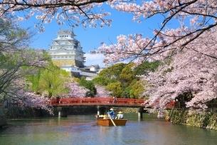 姫路城と桜と和船の写真素材 [FYI04294374]