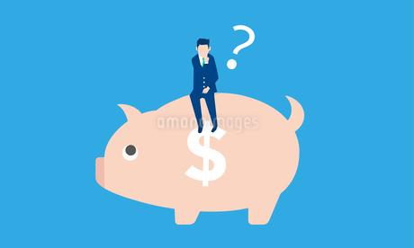 貯金箱とビジネスマンのイラストイメージのイラスト素材 [FYI04294485]