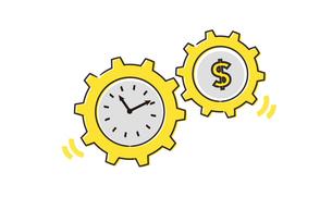 労働と時間の歯車イメージのイラスト素材 [FYI04294488]