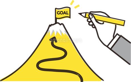 ゴールの旗と富士山、目標設定のイメージのイラスト素材 [FYI04294494]