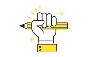 鉛筆と手の手書きイメージのイラスト素材 [FYI04294497]