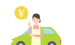 お金について悩む女性、バックに自動車のイラストのイラスト素材 [FYI04294518]