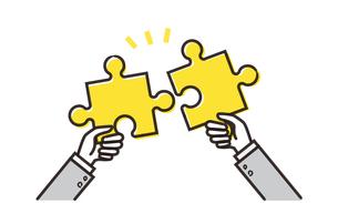 パズルを持つ二人の手のイメージのイラスト素材 [FYI04294531]