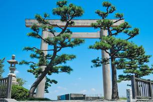 東海道五十三次 桑名宿 七里の渡し 伊勢国一の鳥居の写真素材 [FYI04294617]