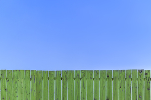 青空と緑の古びた板塀。背景用素材の写真素材 [FYI04295018]